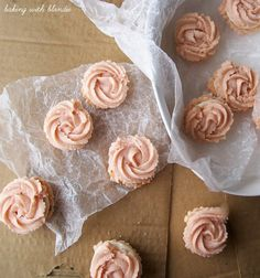 Raspberry Rosette Spritzer Cookies with Almond Cream Cheese Filling