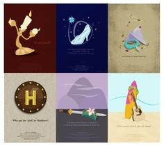 Disney Series: Beauty and the Beast, Cinderella, Pocahontas, Hercules, Mulan and Lilo & Stitch Minimal Movie Posters