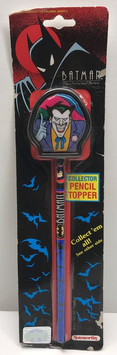 This just in at The Angry Spider Vintage Toy Store: TAS038319 - 1992 ...  Check it out here! http://theangryspider.com/products/tas038319-1992-noteworthy-batman-the-animated-series-pencil-topper-joker?utm_campaign=social_autopilot&utm_source=pin&utm_medium=pin