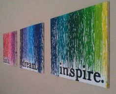 I Dream in Colour... What a great idea with crayon melted on canvas!! So doing this