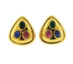 18k Gold Ruby Emerald Sapphire Cabochon Earrings Featured in our upcoming auction on September 13!