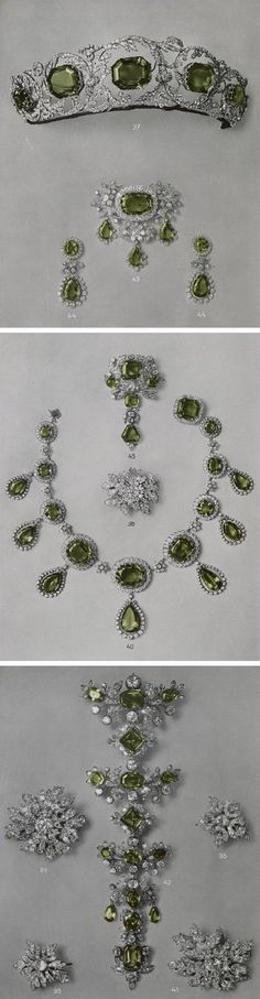 The peridot parure comprising a tiara, a necklace, an earrings, a brooch, three devant de corsage by Köchert in about 1825. It's said that the first owner of the tiara was Archduchess Henriette of Austria. Correspond to the catalog of sale. 1937http://www.thecourtjeweller.com/2014/08/the-habsburg-peridot-parure.html