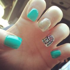 Teal with glitter and dream catcher design