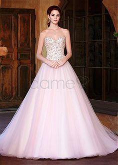 Spitze Herz-Ausschnitt A Linie Tüll Satin aufgeblähtes bodenlanges Brautkleider