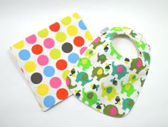 Organic Baby Bib and Burp Cloth Gift Set by TextileTrolley on Etsy, $22.00