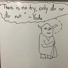 More whiteboard art ... This time from the RCC Warsaw faculty suite. #yoda #starwars #whiteboard #humor #drawing #rappahannock #community #college #rcc #comm_college #va #virginia #highered