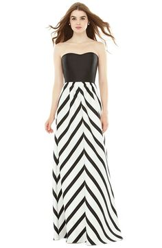 Alfred Sung Strapless Stripe Sateen A-Line Gown