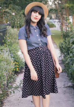 There's No Place Like Home by Curious Natalia.  Vintage style, midi polka dot skirt, red sandals, denim top, straw hat, brown satchel.