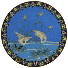 Japanese Meiji Period Cloisonne Charger Plate, circa 1868-1912 | From a unique collection of antique and modern metalwork at https://www.1stdibs.com/furniture/asian-art-furniture/metalwork/