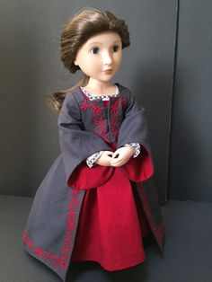 """Hampton Court"".  A new pattern from Thimbles and Acorns.  A Tudor Dress, available in multiple sizes to fit American Girl dolls and A Girl For All Time dolls.  Sewn by me, Sewbig.  Machine embroidered around neckline and cuffs using built-in sewing machine stitches.  Dress embroidered on my embroidery machine."