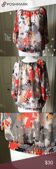 "Floral Flouncy Blouse Feminine floral blouse in grey and orange hues by The Limited. ▪️Semi-sheer ▪️Elastic-banded waist ▪️24"" long ▪️In great condition  🚭 Smoke-free home 📬 Ships by next day 💲 Price negotiable  🔁 Open to trades  💟Happy Poshing!💟 The Limited Tops Blouses"