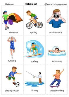 Kids Pages – Hobbies 2 consultez aussi: chagall-col. Kids Pages – Hobbies 2 see also: Chagall-col. Learning English For Kids, Kids English, English Tips, English Language Learning, English Study, English Lessons, Teaching English, Learn English, English Verbs