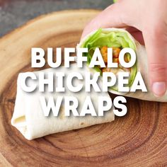 Buffalo Chickpea Wraps - EASY vegan lunch recipe! Meal prep it ahead of time to grab and go. #veganlunch #veganrecipes Easy Vegan Lunch, Vegan Lunch Recipes, Vegan Lunches, Vegan Meal Prep, Vegan Foods, Vegan Dishes, Healthy Snacks, Healthy Recipes, Vegetarian Dinners
