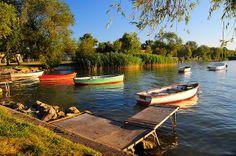Boats on Lake Balaton, Hungary Budapest, Places Around The World, Around The Worlds, Mako Boats, Hungary Travel, Boat Covers, Old Boats, Bavaria, Sun Lounger