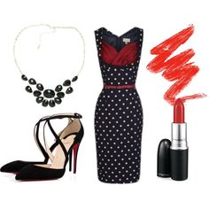 """""""Another date-night outfit! With Lindy Bop!"""" by lindy-bop on Polyvore Amazing low-cut pin-up vintage dress from Lindy Bop! Buy here: http://www.lindybop.co.uk/search/vanessa"""