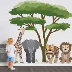 Large Safari Animal Wall Decals with Acacia Tree, Nursery Wall Decals, Jungle Wall Stickers, African Animal Wall Decals - Wall Dressed Up Jungle Wall Stickers, Animal Wall Decals, Flower Wall Stickers, Nursery Wall Murals, Nursery Decals, Safari Nursery, Vinyl Decals, Wall Art, Animal Set