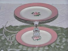 Pink Rose 2 Tier Cupcake Plate / Cupcake Dessert Stand / Glass Pedestal Stand / Vintage Inpsired / Wedding Home Decor / Center Piece  Handmade from 2 vintage salad plates and a HOMCO candle holder. $34.00 + $5 sh