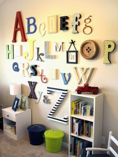 Great decoration for playroom.  You can find letters at the craft store.  You can also make a template of letters of all different sizes.  Use different things to cut from such as wood or foam board.  Use a scroll or jigsaw to cut the letters  from wood.  The possibilities are endless!!!