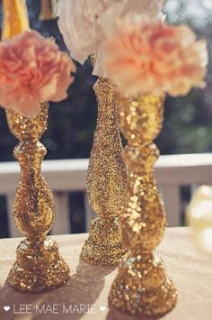 Glitter Painted Candlesticks ( get candles and holders from dollar tree and spray paint )