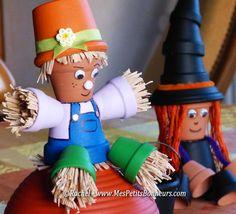 épouvantail en pots de fleurs Flower Pot Art, Clay Flower Pots, Flower Pot Crafts, Clay Pot Crafts, Diy Clay, Diy Crafts, Diy Flower, Flower Pot People, Clay Pot People