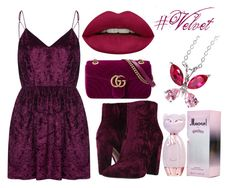 """#Velvet"" by sllamma ❤ liked on Polyvore featuring WithChic, Jessica Simpson, Gucci and Huda Beauty"