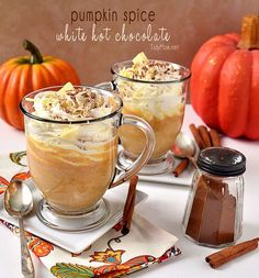 #Pumpkin Spice White Hot Chocolate recipe at TidyMom.net