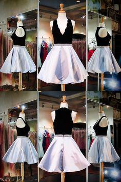 2017 short homecoming dress prom dress, black homecoming dress party dress