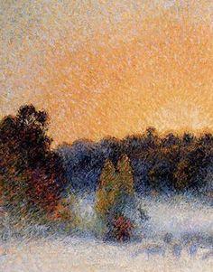 """Camille Pissarro (1830-1903) ~ """"Eragny, Coucher de Soleil et Brouillard"""", 1891 (Détail) ~ Huile sur Toile 65 x 54cm ~ Collection Privée"""