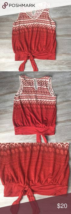 Anthro- Deletta V Neck Top Super cute! Ties in the front. Great deep reds and cream color. Very slight fading and pilling shown in pic 3. Otherwise in excellence condition! Anthropologie Tops Tank Tops
