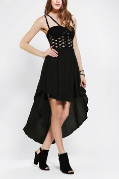Reverse Studded Lattice High/Low Dress #urbanoutfitters