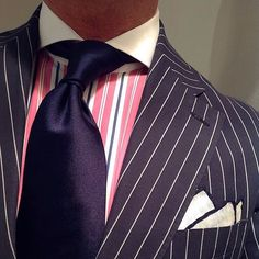 Round Decided to post this again because the masterful combination of stripes, colors, scale of spacing and contrast is perfect. If your bespoke tailor doesn't work with this level of precision and aesthetic elegance, isn't it time for a change? Sharp Dressed Man, Well Dressed Men, Mens Attire, Mens Suits, Navy Blue Suit, Blue Suits, Preppy Style, My Style, Style Men