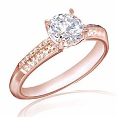 2Ct Solitaire Diamonds Simulant Engagement Wedding Solid Ring Real 9K Rose Gold # Free Stud Earrings by JewelryHub on Opensky