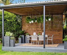 your pergola Transform your pergola into a gorgeous entertaining space.Transform your pergola into a gorgeous entertaining space. Carport Patio, Backyard Gazebo, Deck With Pergola, Outdoor Pergola, Diy Pergola, Outdoor Areas, Outdoor Rooms, Backyard Landscaping, Cozy Backyard