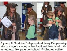 Hello?  Middle School?  Yes, I'm Captain Jack Sparrow and I will be taking control of the premises.  You have 10 minutes before me and my crew come aboard.