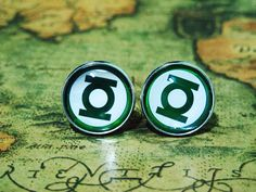 Men Cuff LInks , Green Lantern Movie Design Cufflinks , Unique Silver Cuff Link , with a Gift Box on Etsy, $8.00