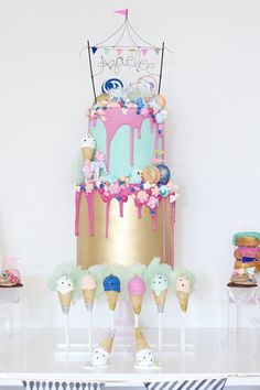 Cake from a Circus Birthday Party via Kara's Party Ideas Carnival Birthday Parties, Circus Birthday, Circus Party, Circus Wedding, Birthday Ideas, Drip Cakes, Cupcakes, Cupcake Cakes, Carnival Cakes
