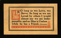 "Roycroft Postcard, ""So long as we Love, we Serve. . . Stevenson."""