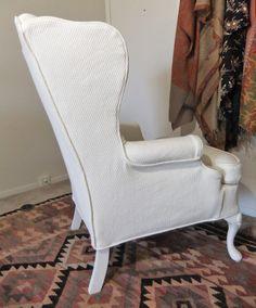 Slipcover Makeover For Wingback Chair In Cotton Diamond Matelasse By  Slipcovermaker.com. Diy ...