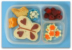 Cucumber carrot flowers, organic covered raisins, a butterfly sandwich adorned with fruit leather, ripe raspberries. Photo courtesy of Another Lunch