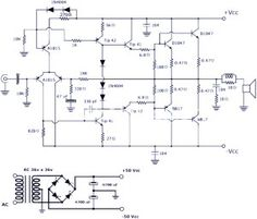 This is a power amplifier circuit project. The circuit features high power, good definition and very low noise. It delivers about 200 watts in 4 ohms loudspeaker: a 4 ohm speaker or two pieces… Class D Amplifier, Stereo Amplifier, Electronics Projects, Electrical Schematic Symbols, Electronic Circuit Design, Power Supply Circuit, Schematic Design, Susa, Circuit Projects
