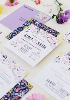 cute pink & purple floral wedding stationery / the print fairy.