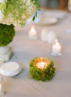 a little greenery around your tea lights