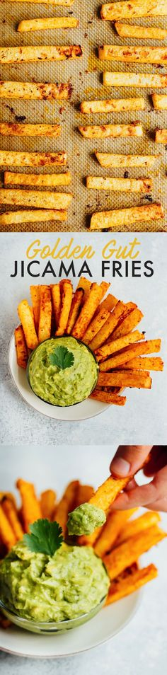 Keto Gut-friendly baked jicama fries with turmeric and black pepper. Serve with fresh guacamole for a delicious summer side! Vegan, paleo, low-carb and keto. Whole Food Recipes, Vegetarian Recipes, Cooking Recipes, Healthy Recipes, Delicious Recipes, Lchf, Jicama Fries, Healthy Snacks, Healthy Eating