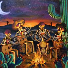I'm pretty proud of this painting.  It's 5'x4' oil on canvas.  #art #rogerclyneandthepeacemakers #rcpm #DanielGonzalez #dayofthedead #calavera #music #sonoran #desert #sunset #campfire #stars #luna #moon #cactus #jamming #skeletons #painting  @rogerclyneandthepeacemakers