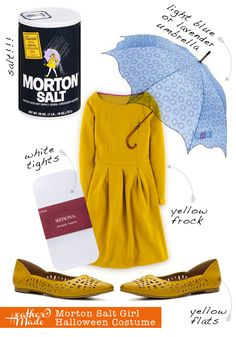 Morton Salt Girl Halloween Costume by HeatherOMade click through for alternative options & links to where you can get the pieces to make up this costume! #halloween #costume