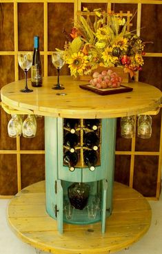 DIY Furniture Plans & Tutorials : Cable Spool Wine Table