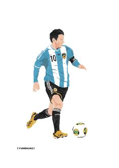 Illustration - yunosuke soccer messi メッシ サッカー イラスト Fifa Football, Retro Football, Football Soccer, Football Is Life, World Football, Messi And Ronaldo, Messi 10, Lionel Messi Wallpapers, Argentina Football