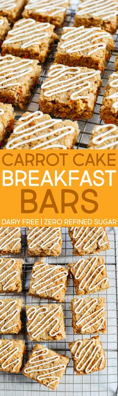 EASY and delicious Carrot Cake Oatmeal Breakfast Bars perfect to grab on-the-go! #dairyfree #silknutmilk @lovemysilk