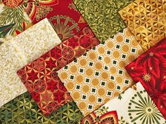 Bring home the magical sight of freshly fallen snow with the Winter's Grandeur collection! These elegant pre-cuts feature modern holiday prints in a classic palette of red, green and gold, for fabric that's ready to be made into marvelous decor, gorgeous quilts and more.