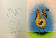 Papá colorea los dibujos de su hijo durante sus viajes de negocios